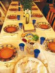 A table set for the Seder Meal