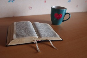 Bible and cup of coffee