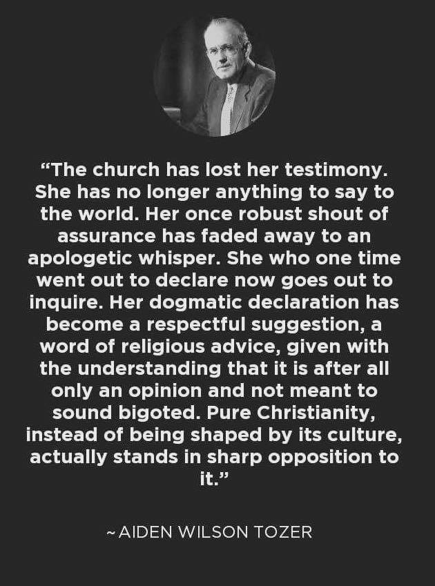 The Church has lost her testimony to a lost world--Tozer