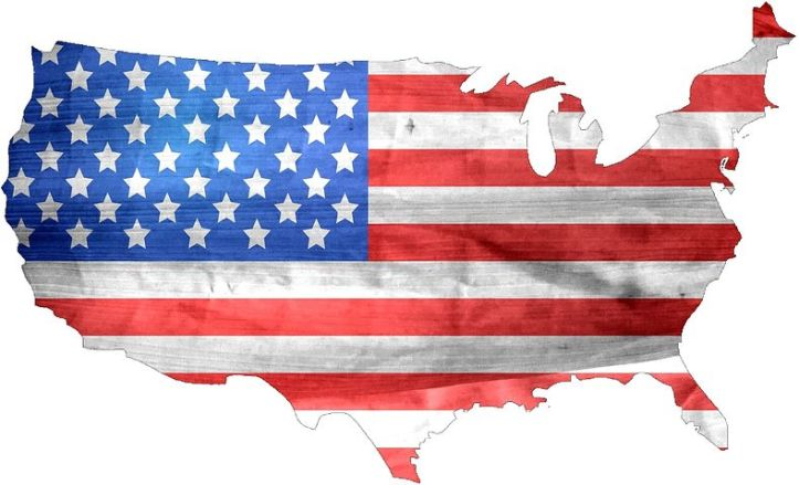 american flag in shape of USA